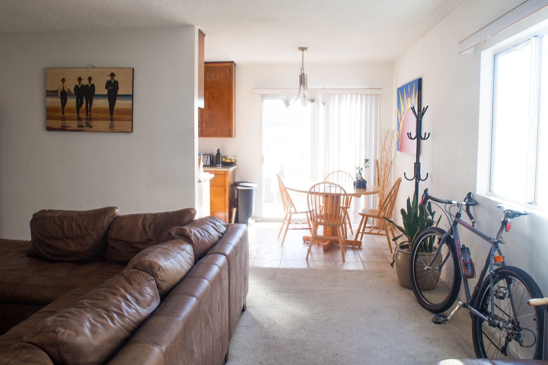 Sunny living room/kitchen.