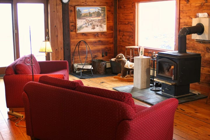 The family room has a delightful stove to keep you warm and cozy.