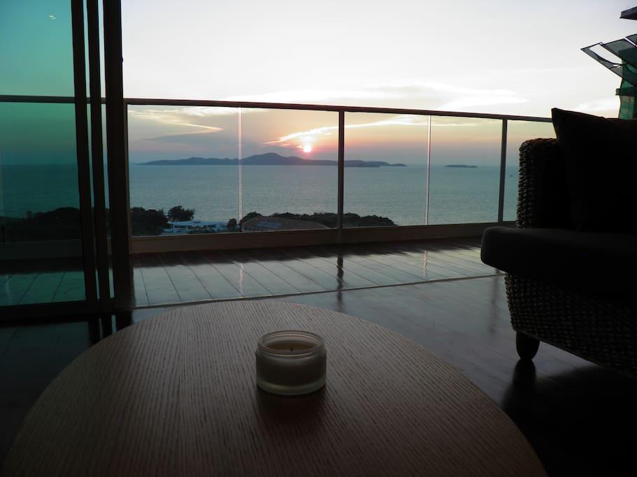 Vue du salon sur mer