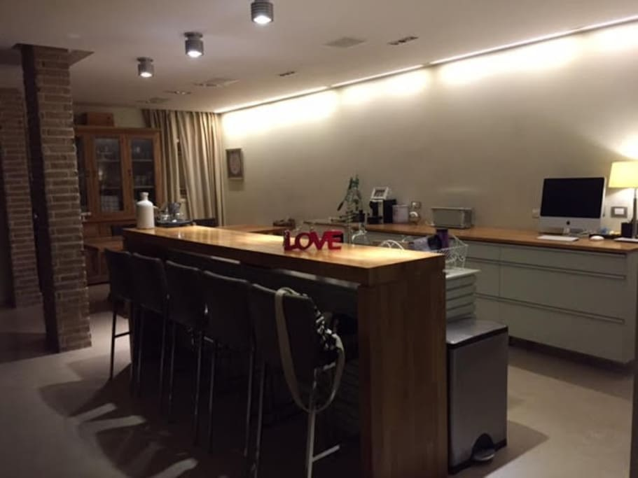 Night view - kitchen and dinning area