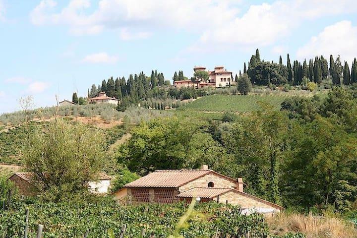 Our home with view of renaissance villa Vignamaggio