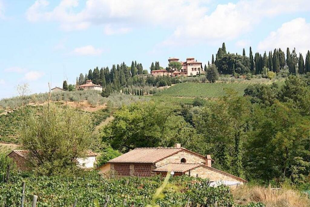 Our home with view of renaissance villa Vignamaggio