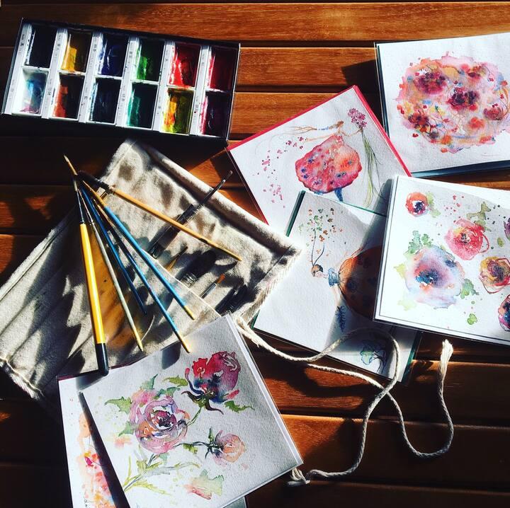 Aquarelle : créer vos cartes