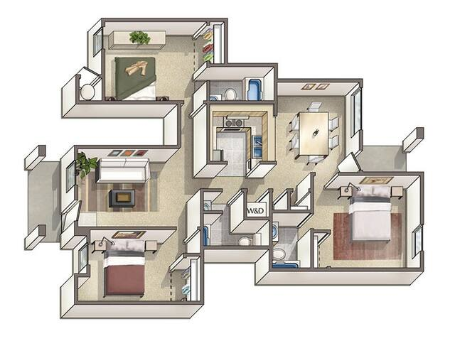 Furnished bedroom & en suite bath - Davis - Daire