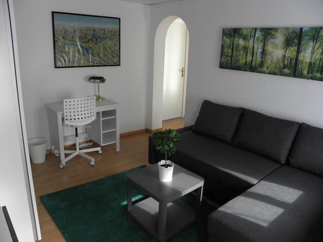 Schöner Schlaf-/Wohnraum mit Bürotisch