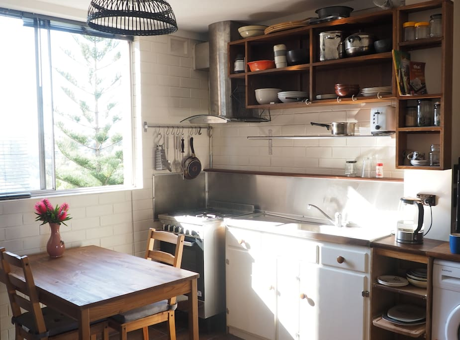 Morning sun in the kitchen space.