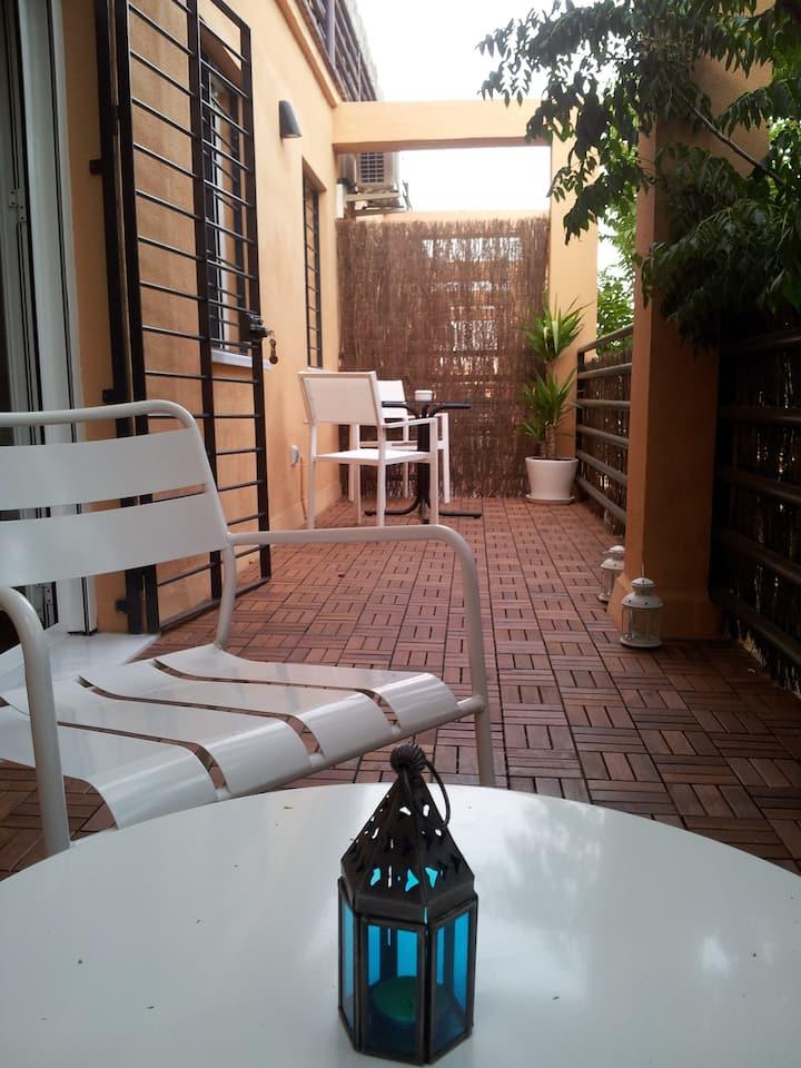 Wonderful studio with sunny terrace