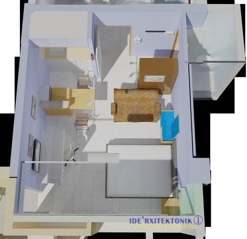 ΄Μια κατοικία 28 τμ και 16 τμ μπαλκόνι με τις ανέσεις ενός μεγάλου διαμερίσματος, αλλά χωρίς εσωτερικές μετακινήσεις.