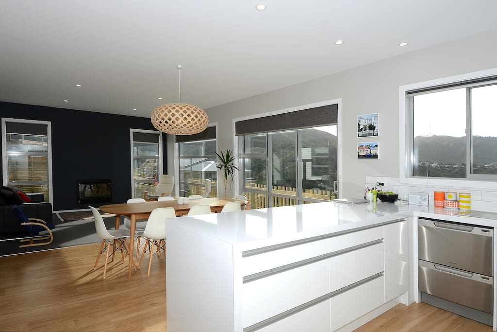The kitchen, dining and living area