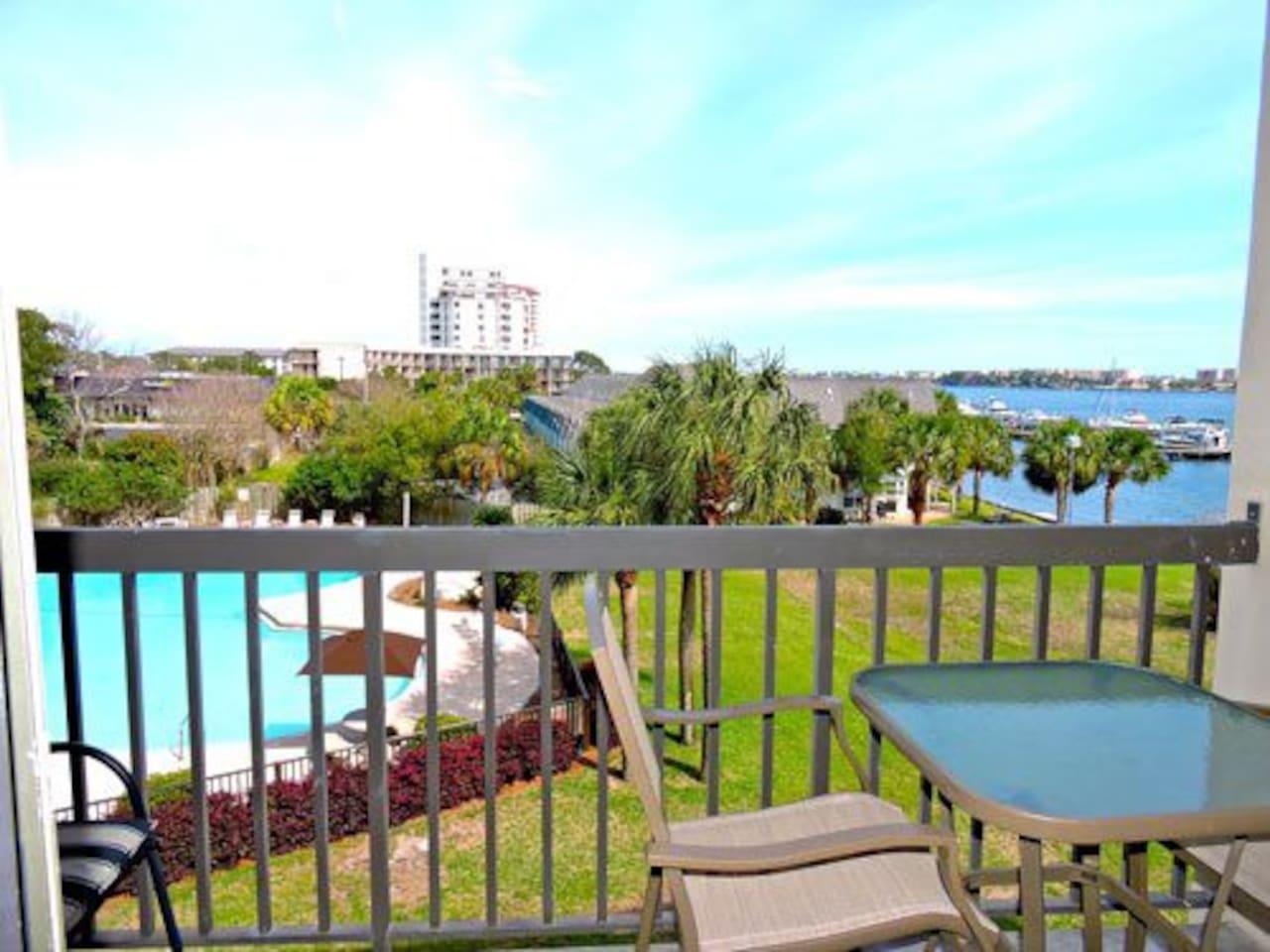 Private balcony overlooking the pool, marina, Santa Rosa sound and Okaloosa Island
