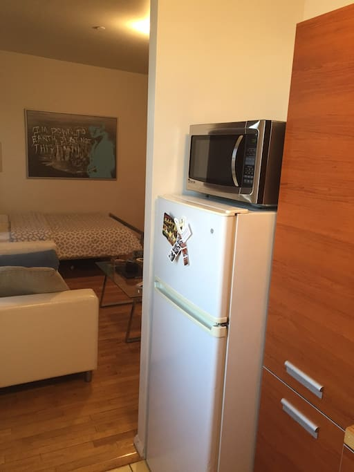 Microwave and large refrigerator