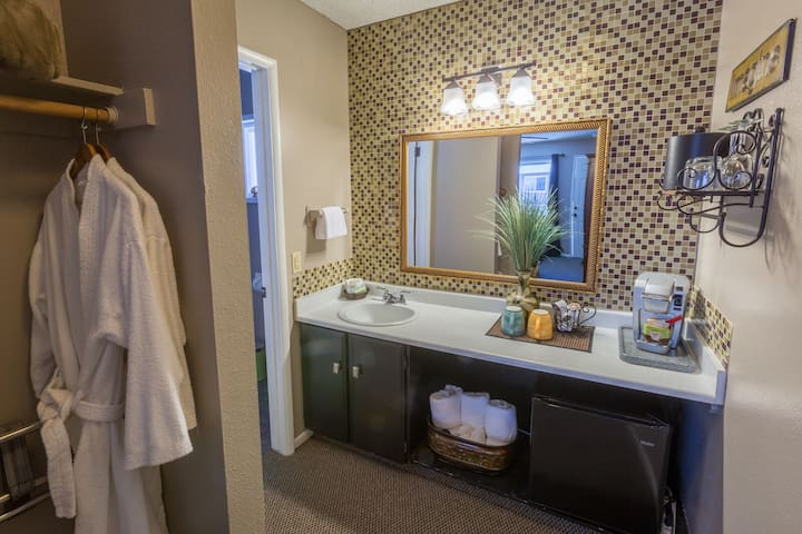 Extras like bathrobes, wine openers and coffee machines are supplied in each room