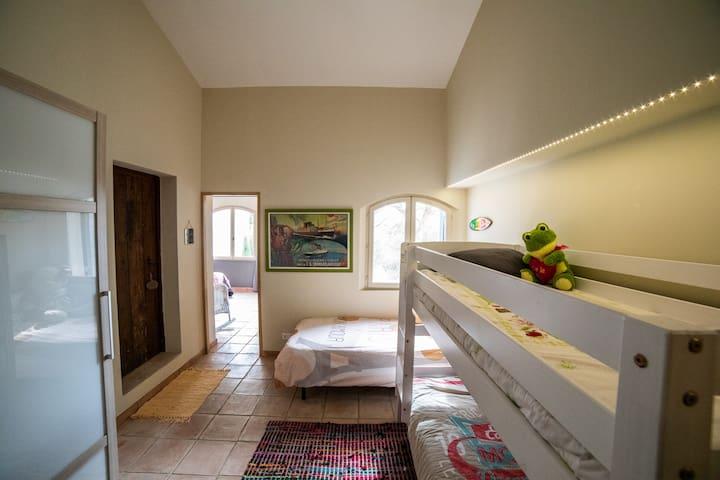 Kids Bedroom with Bunk Beds and bathroom