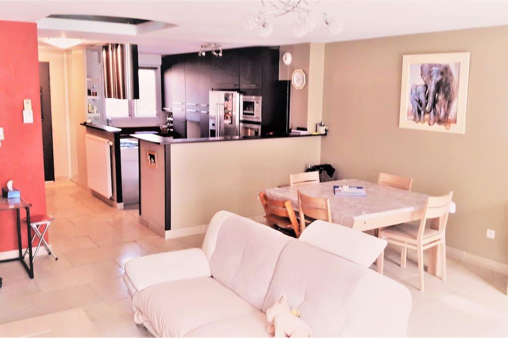 Salon et cuisine ouverte au rez de chaussée