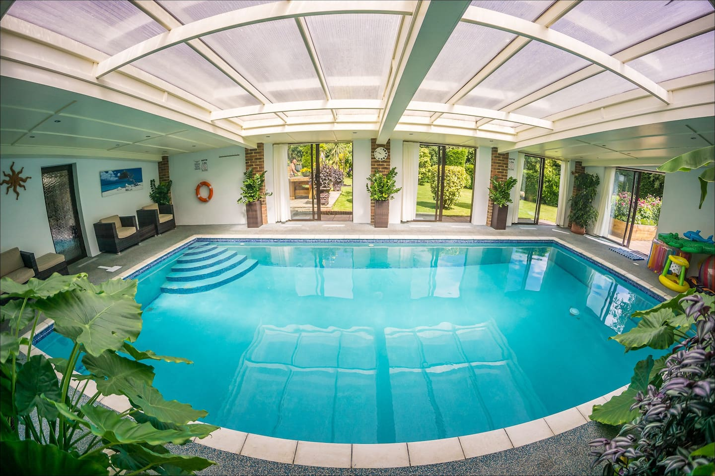 Heater indoor swimming pool - great all year rain or shine!