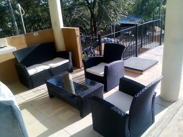 Outdoor patio shared by 6 units