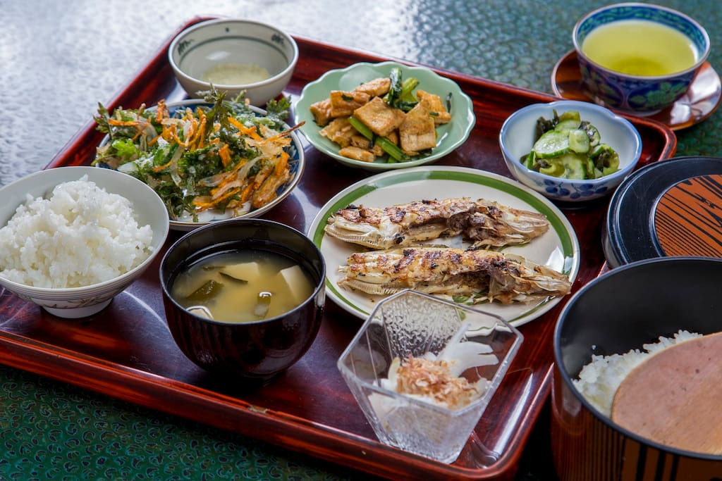The Airbnb comes with a dinner and breakfast. This is how a typical dinner would look. The ingredients will vary depending on the season but we guarantee that you will taste a traditional delicious Japanese meal!