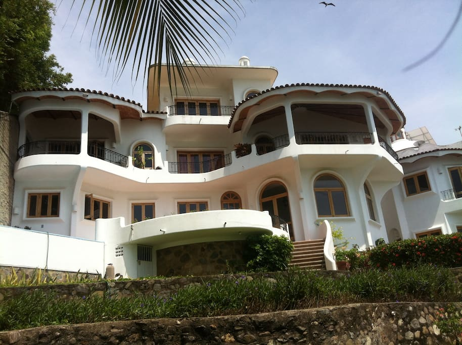 View of villa from bottom of property