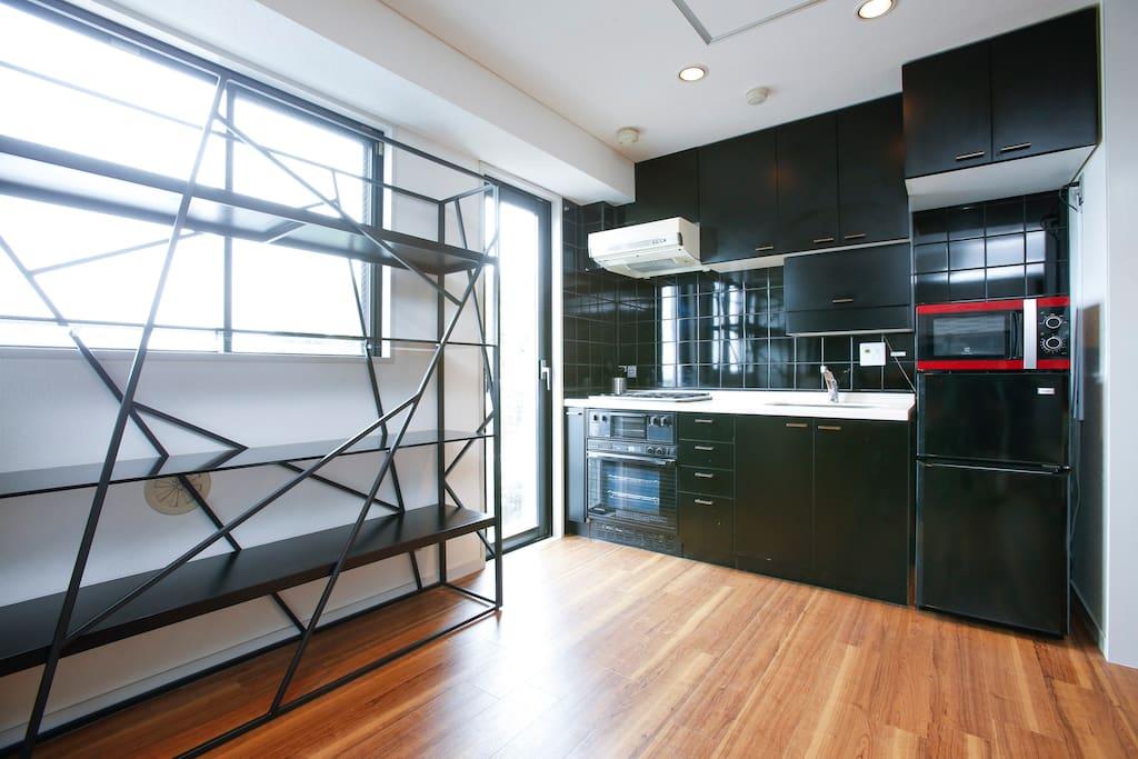 Full kitchen and small balcony