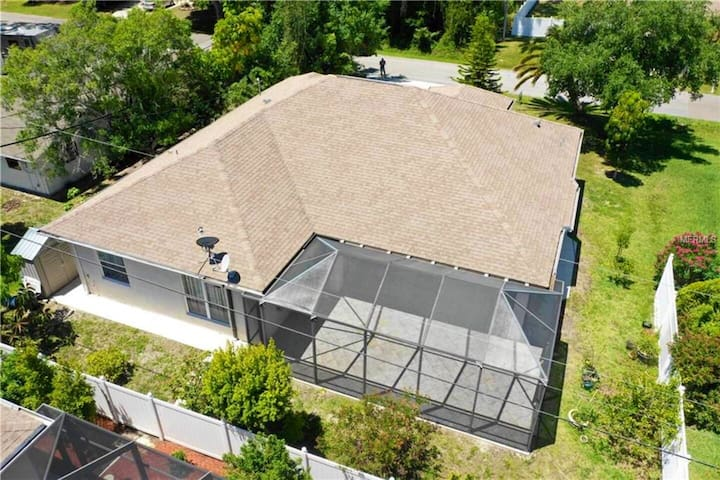 Aerial view of house from back