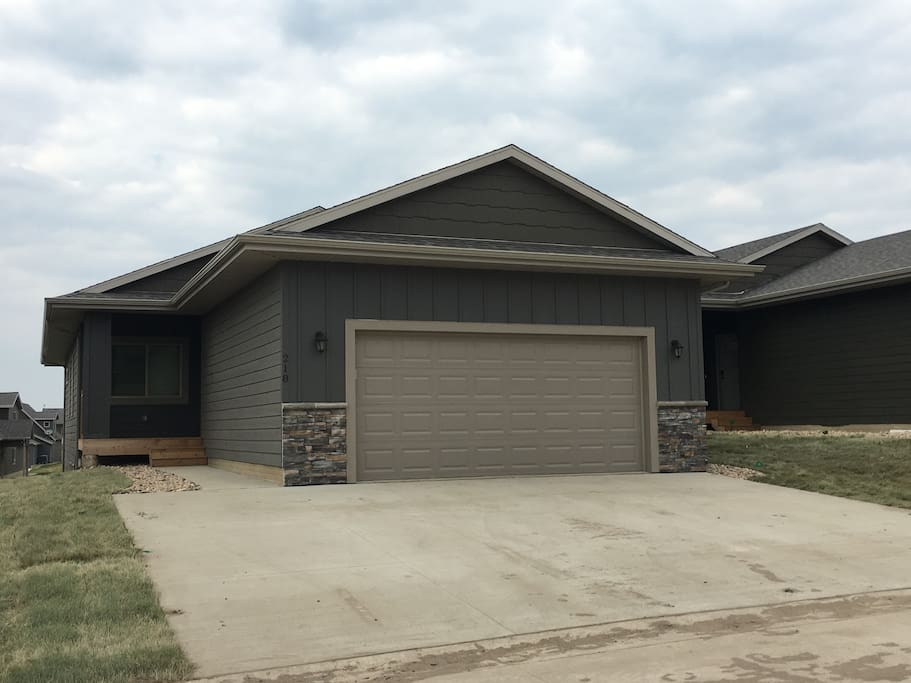Front of cabin - two car garage and extra-wide driveway