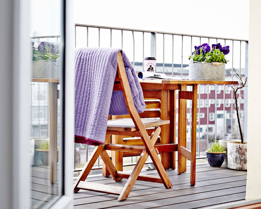 The balcony can comfortably seat 4-5 people or a lounger. You're more than welcome to barbecue here.