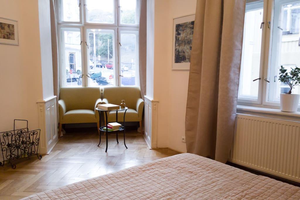 Seating corner in master bedroom