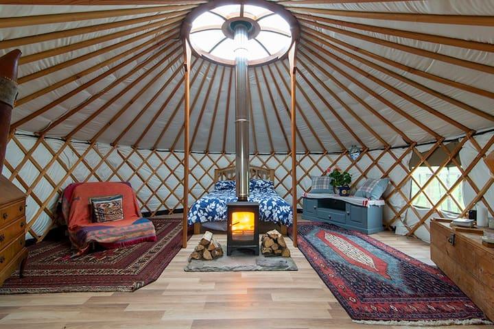 A warm welcome awaits at the Shepherd's Loch Yurt.
