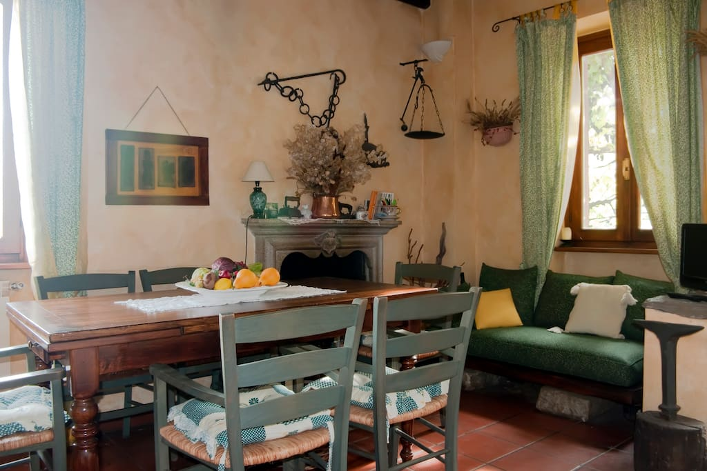 Lunch/Dinner table with fireplace