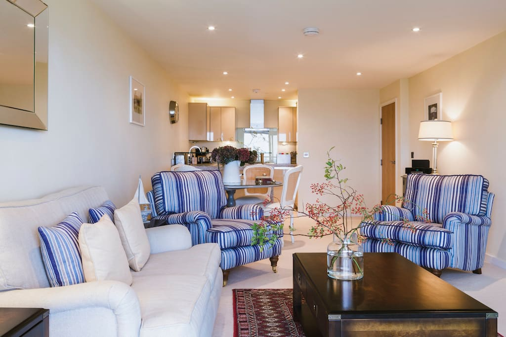Open plan kitchen, living and dinning area with sea views
