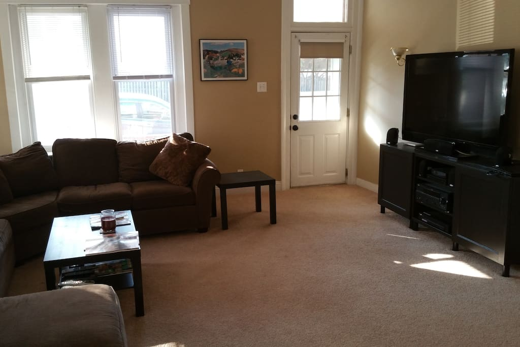 Living room with sectional sofa and tv