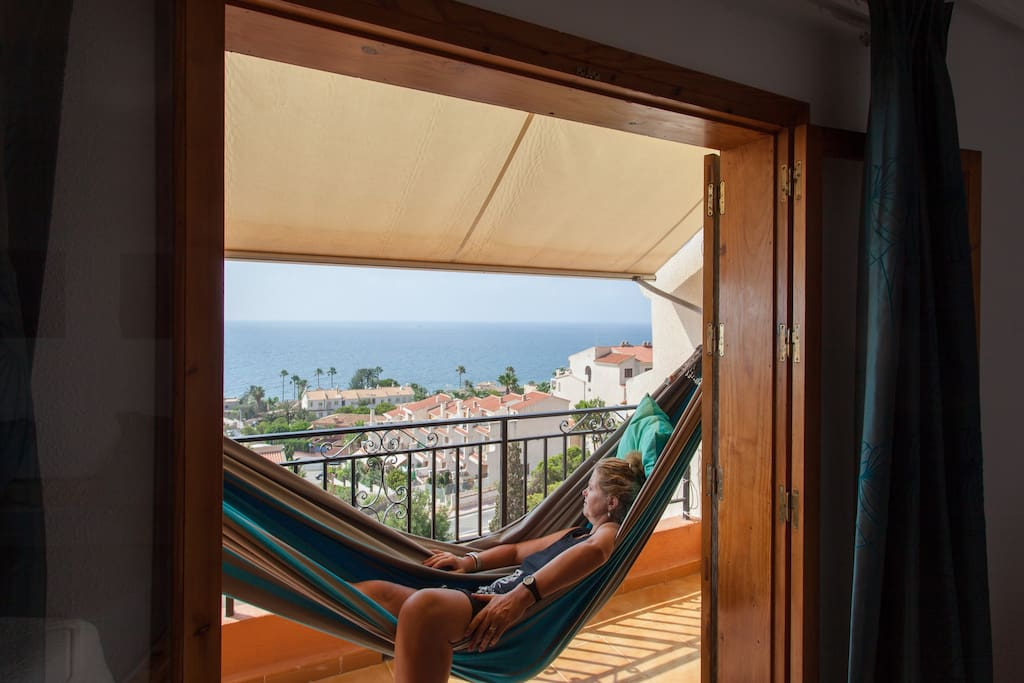 The ultimate form of relaxation( balcony at the bedroom with king size bed!)