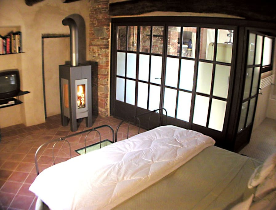 Wood burning stove, Television with English channels, Wifi