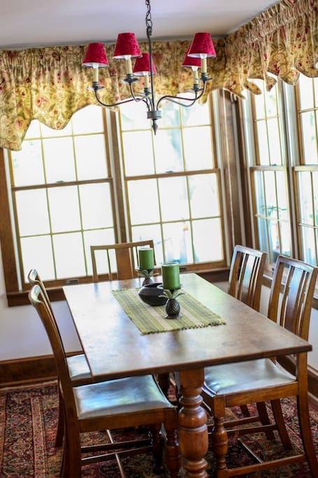 Oak dining room table where breakfast is served