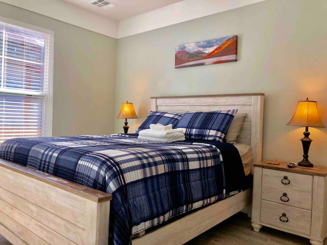 Master Bedroom with a New Comfy Mattress and Silky Sheets.  It has a spacious closet and private bathroom.