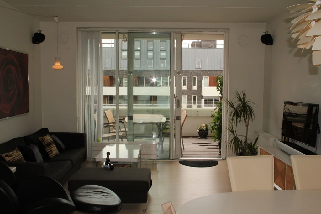 Living room facing balcony