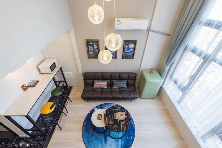 悠然时光 | 长嘉汇购物公园|弹子石老街旁 | Loft品质公寓 | 现代简约风甜蜜1居室