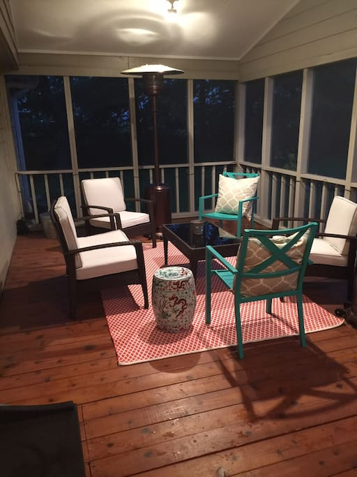 Large screened in porch can comfortably fit over 10 people.  (Additional space to the right of this picture; not featured.)