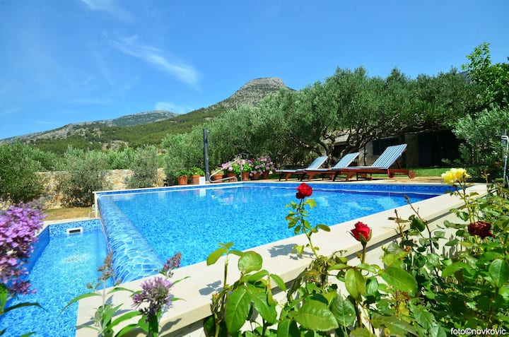 Two Bedroom Peaceful authentic remote cottage, in Bol - island Brac, Outdoor pool
