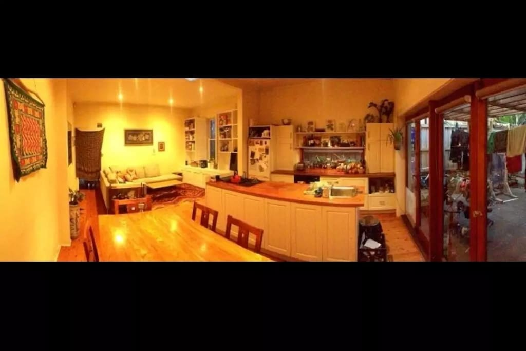 Large open plan living room with gas kitchen