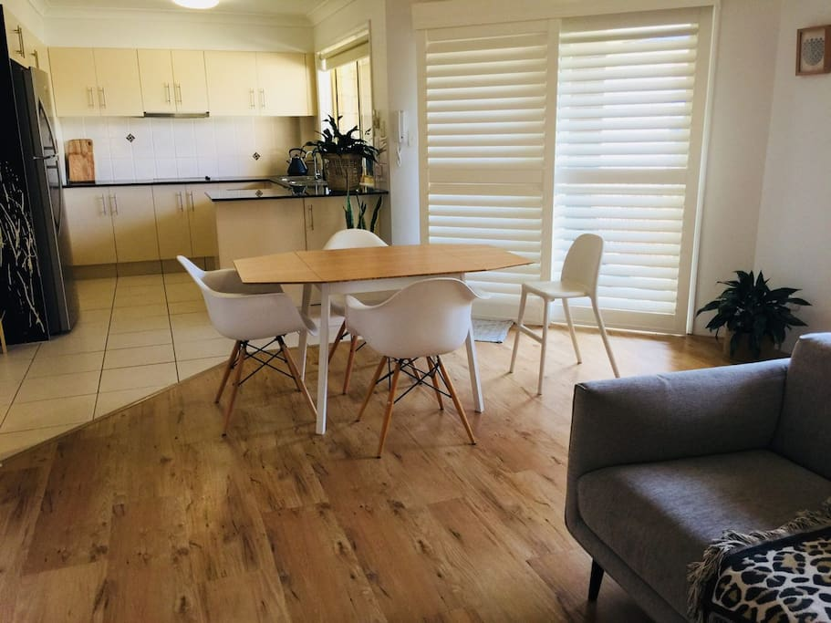 Open plan lounge and dining with A/C