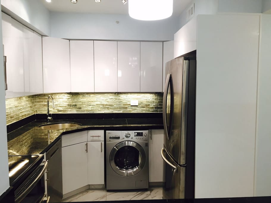 kitchen with washer dryer combo