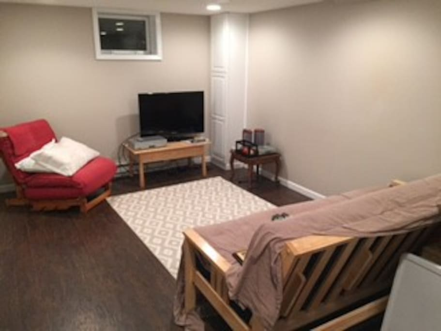 Living space with cable TV