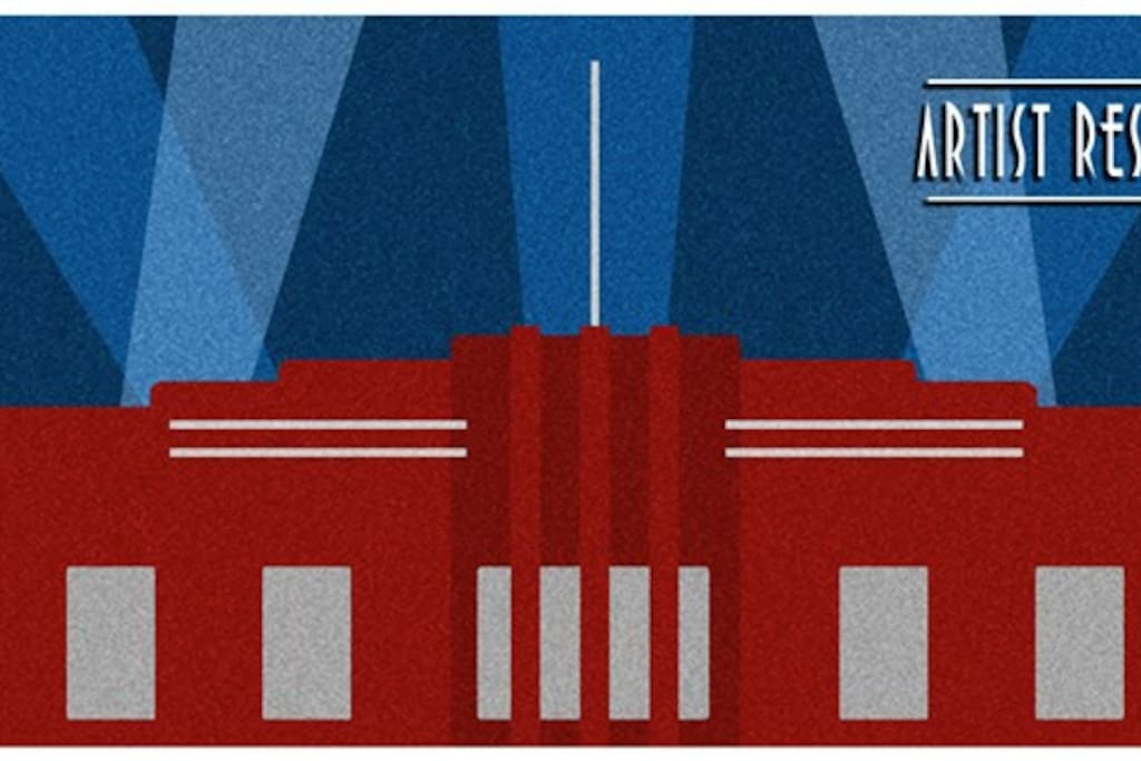 A stylised poster of the front of our building