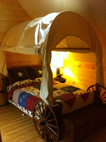 Climb on in the covered wagon for a real western sleepover!