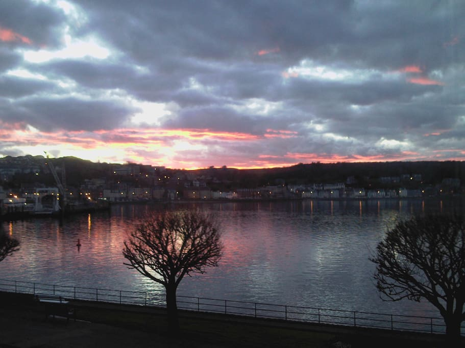 Sunset over Rothesay Bay taken from the Commodore