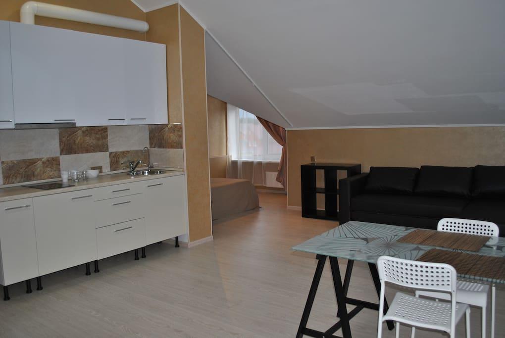 Апартаменты с кухней и спальней 2800 руб. в сутки