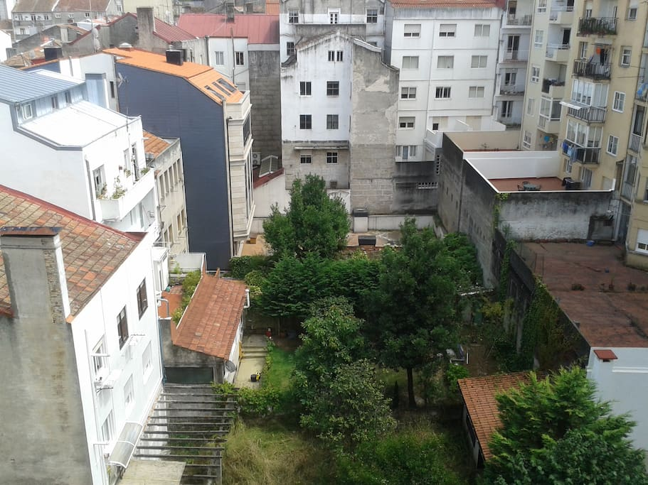 Vistas desde la terraza. Patio  amplio con jardines
