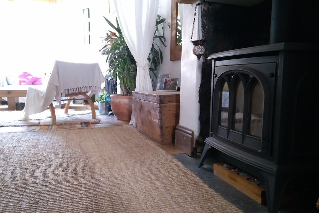 The gas fire looks like a wood burner but can be turned on and off by remote control in an instant!