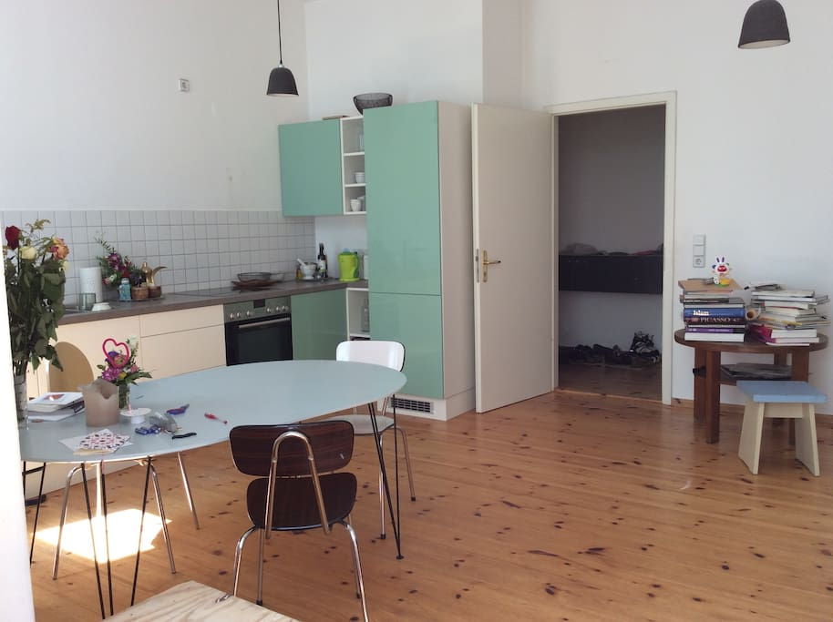 kitchen equipped with cooker, fridge&freaser, dishwasher